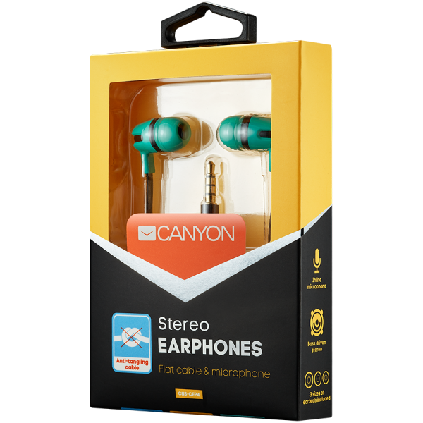 CANYON Stereo earphone with microphone, 1.2m flat cable, Green, 22*12*12mm, 0.013kg 1
