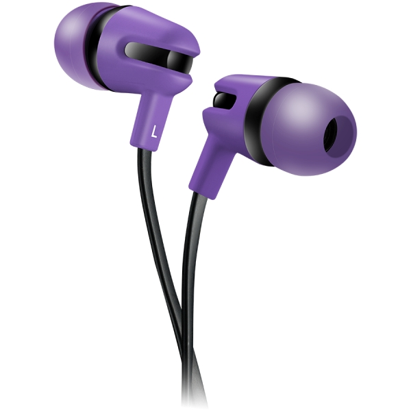 CANYON Stereo earphone with microphone, 1.2m flat cable, Purple, 22*12*12mm, 0.013kg 0