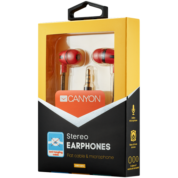 CANYON Stereo earphone with microphone, 1.2m flat cable, Red, 22*12*12mm, 0.013kg 1