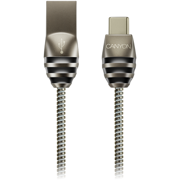 CANYON Type C USB 2.0 standard cable, Power & Data output, 5V 2A, OD 3.5mm, metallic Jacket, 1m, gun color, 0.04kg 0