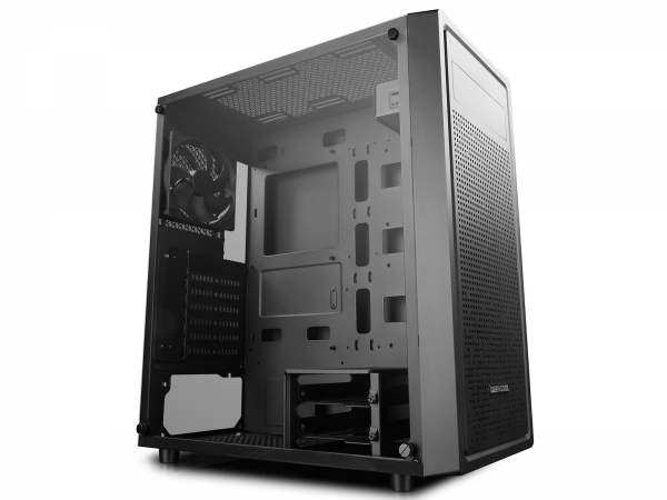 "CARCASA DeepCool Middle-Tower  E-ATX, 1* 120mm fan (inclus), tempered glass, front audio & 1x USB 3.0,  2x USB 2.0, black ""E-SHIELD"" [1]"