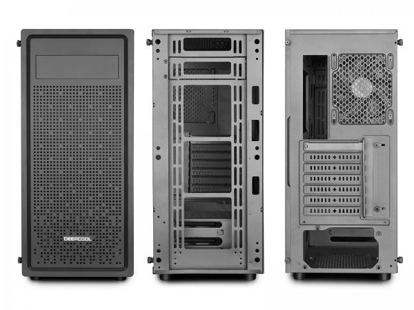 "CARCASA DeepCool Middle-Tower  E-ATX, 1* 120mm fan (inclus), tempered glass, front audio & 1x USB 3.0,  2x USB 2.0, black ""E-SHIELD"" [3]"