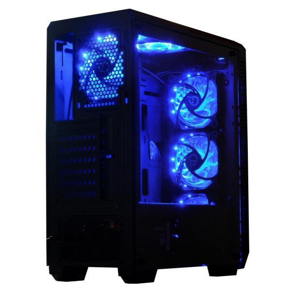 "CARCASA SPACER Middle-Tower ATX, fara sursa, H3x@, side window, 6* 120mm fan instalate, I/O panel, Black ""SP-GC-04"" 1"