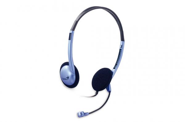 """CASTI GENIUS cu microfon """"HS-02B"""", clasice cu fir, frecventa 20Hz - 20kHz, cu jack de 3.5mm, control volum, noise cancelling si design ajustabil, culoare: albastru """"31710037100"""" (include timbru verde  [0]"""