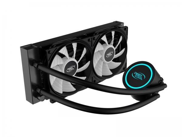 "COOLER DeepCool CPU universal. cu LICHID. soc LGA2011(3)/1366/115x & FMx/AM4/AM3x/AM2x, AL+Cu+lichid, 2x 120 blue LED fans, 250W, ""GAMMAXX L240T BLUE"" 1"