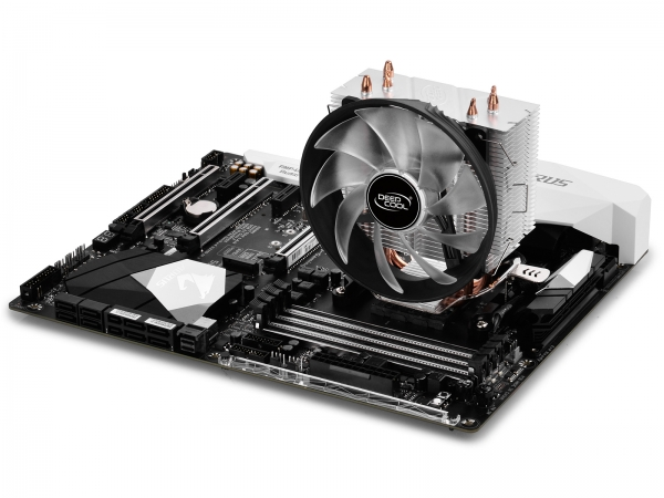 """COOLER DeepCool CPU universal, soc LGA115x/775 & FMx/AMx, Al+Cu, 3x heatpipe, red LED fan 120x25mm, 130W \'\'GAMMAXX 300R"""" 5"""