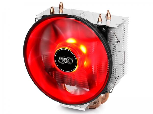 """COOLER DeepCool CPU universal, soc LGA115x/775 & FMx/AMx, Al+Cu, 3x heatpipe, red LED fan 120x25mm, 130W \'\'GAMMAXX 300R"""" 0"""