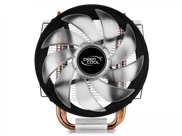 """COOLER DeepCool CPU universal, soc LGA115x/775 & FMx/AMx, Al+Cu, 3x heatpipe, red LED fan 120x25mm, 130W \'\'GAMMAXX 300R"""" 3"""