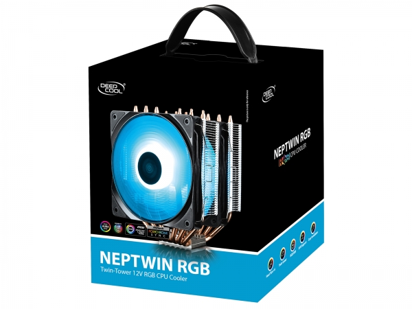 """COOLER DeepCool CPU universal, soc. LGA20xx/1366/115x/775 & FMx/AMx, Al+Cu, 6x heatpipe, 2x RGB SYNC fans 120x25mm, 200W """"NEPTWIN RGB"""" 7"""