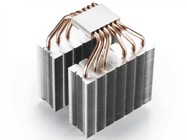 """COOLER DeepCool CPU universal, soc. LGA20xx/1366/115x/775 & FMx/AMx, Al+Cu, 6x heatpipe, 2x RGB SYNC fans 120x25mm, 200W """"NEPTWIN RGB"""" 5"""