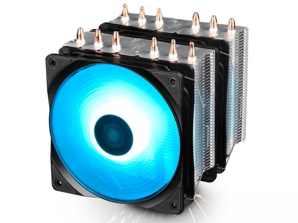 """COOLER DeepCool CPU universal, soc. LGA20xx/1366/115x/775 & FMx/AMx, Al+Cu, 6x heatpipe, 2x RGB SYNC fans 120x25mm, 200W """"NEPTWIN RGB"""" 0"""