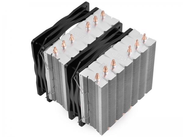 """COOLER DeepCool CPU universal, soc. LGA20xx/1366/115x/775 & FMx/AMx, Al+Cu, 6x heatpipe, 2x RGB SYNC fans 120x25mm, 200W """"NEPTWIN RGB"""" 3"""