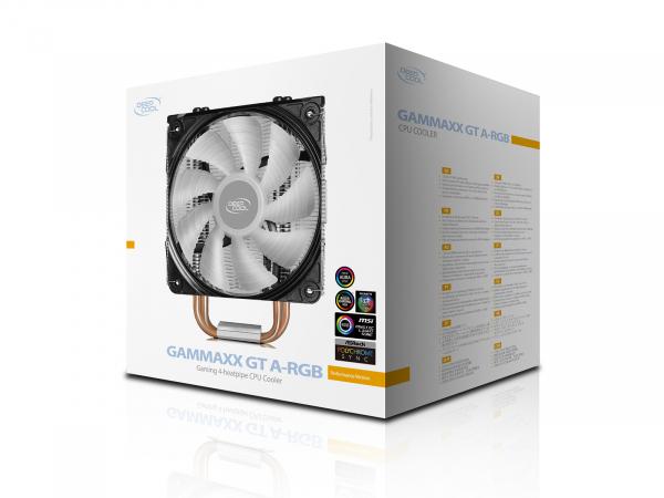 """COOLER DeepCool CPU universal, soc LGA20xx/1366/115x & AM4/AMx/FMx, Al+Cu, 4x heatpipe, 150W, ADD-RGB LED """"GAMMAXX GT A-RGB"""" 5"""