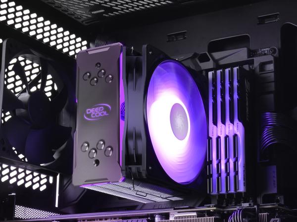 """COOLER DeepCool CPU universal, soc LGA20xx/1366/115x & AM4/AMx/FMx, Al+Cu, 4x heatpipe, 150W, ADD-RGB LED """"GAMMAXX GT A-RGB"""" 7"""