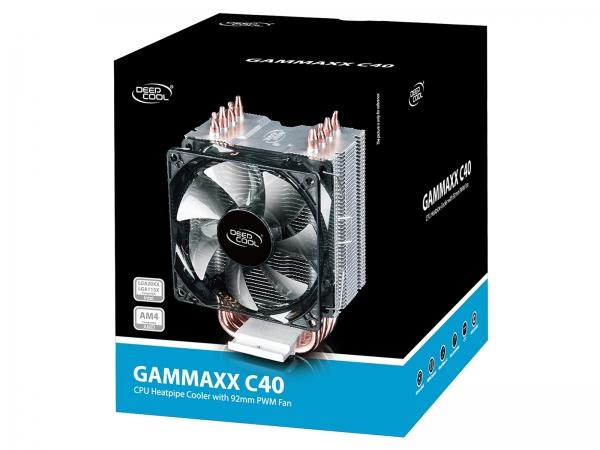"""COOLER DeepCool CPU universal, soc LGA20xx/1366/115x & AMx/FMx, Al+Cu, 4x heatpipe, 130W """"GAMMAXX C40"""" 6"""