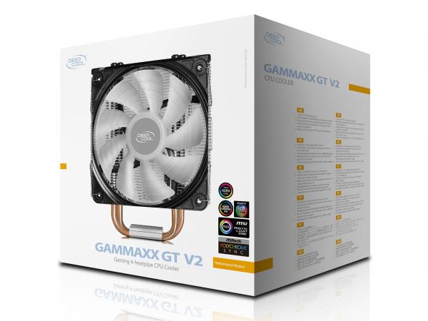 """COOLER DeepCool CPU universal, soc LGA20xx/1366/1200/115x & AM4/AMx/FMx, Al+Cu, 4x heatpipe, 150W, RGB LED """"GAMMAXX GT V2"""" 5"""