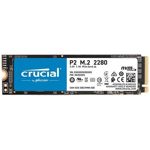 CRUCIAL P2 250GB SSD, M.2 2280, PCIe Gen3 x4, Read/Write: 2100/1150 MB/s, Random Read/Write IOPS: 170K/260K [0]