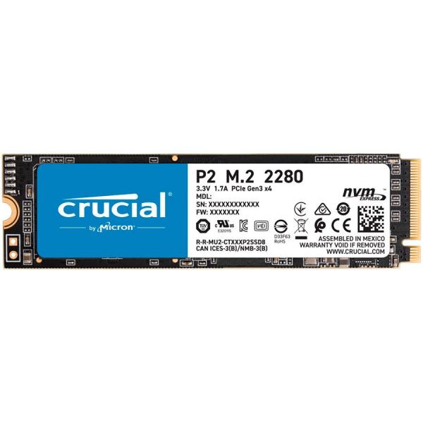 Crucial SSD 1000GB P2 M.2 NVMe PCIEx4 80mm Micron 3D NAND  2300/1150 MB/s, 5yrs, EAN: 649528823472 0