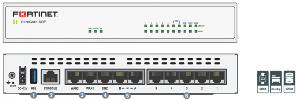 Fortinet Firewall FortiGate-60F Hardware plus 1 Year 24x7 FortiCare and FortiGuard Unified (UTM) Protection 1