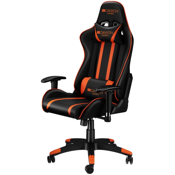 Gaming chair, PU leather, Cold molded foam, Metal Frame,  Butterfly mechanism, 90-150 dgree, 2D armrest, Class 4 gas lift, Nylon 5 Stars Base, 60mm PU caster, black+Orange. 1