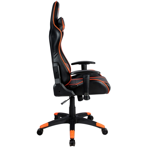 Gaming chair, PU leather, Cold molded foam, Metal Frame,  Butterfly mechanism, 90-150 dgree, 2D armrest, Class 4 gas lift, Nylon 5 Stars Base, 60mm PU caster, black+Orange. 3