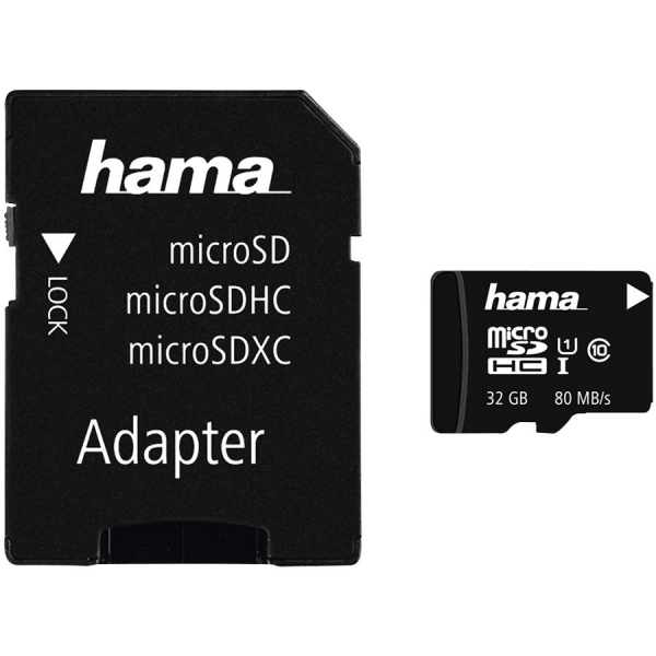 Hama microSDHC 32GB Class 10 UHS-I 80MB/s + Adapter/Photo 0