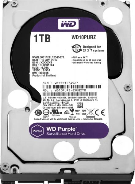 """HDD  1TB PURPLE  64MB S-ATA3 """"1PURZ"""" WD SURVEILLANCE """"WD10PURZ"""" 1"""
