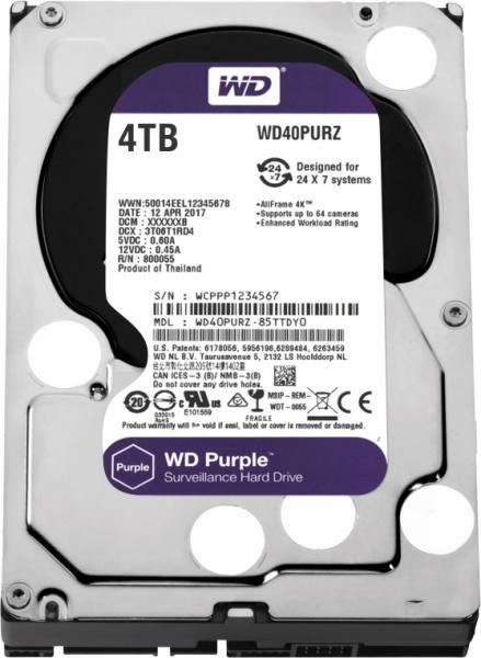 """HDD 4TB PURPLE  64MB S-ATA3 """"4PURZ"""" WD SURVEILLANCE """"WD40PURZ"""" 0"""