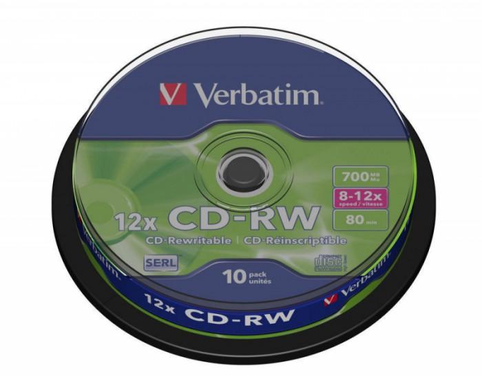 CD-RW Verbatim DATALIFE PLUS 8-12X 700MB 10PK SPINDLE  0