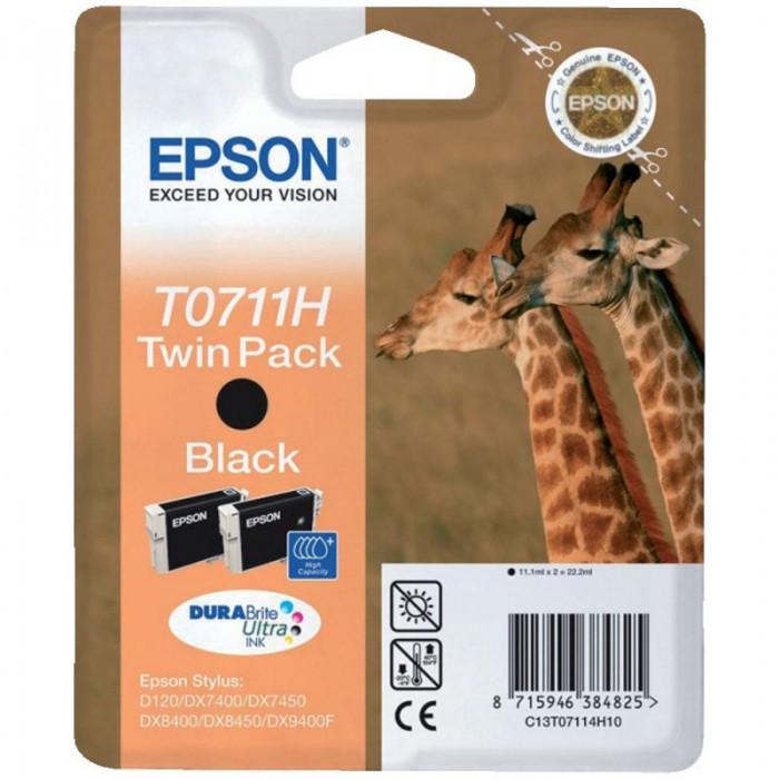 Cartus cerneala Original Epson Black T0711H Twin Pack, compatibil Stylus D120/120 Network Edition, DX7400/8400/9400F/9400F  [0]