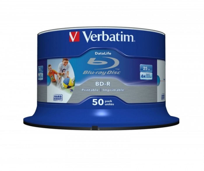 BD-R Verbatim SL DATALIFE 6X 25GB 50PK SPINDLE WIDE PRINTABLE NO ID  0