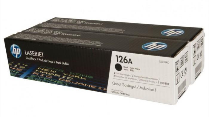 Toner Original pentru HP Negru Dual Pack, compatibil LJ CP1025/CP1025mw 126A, 2x1200pag  [0]