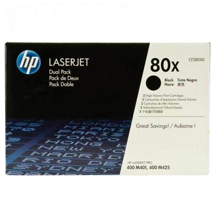 Toner Original pentru HP Negru Dual Pack 80X, compatibil M401/M425, 2x6900pag  0