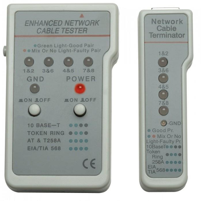 Tester cablu multifunctional, RJ11/RJ45, Gray, Retail Box  [0]