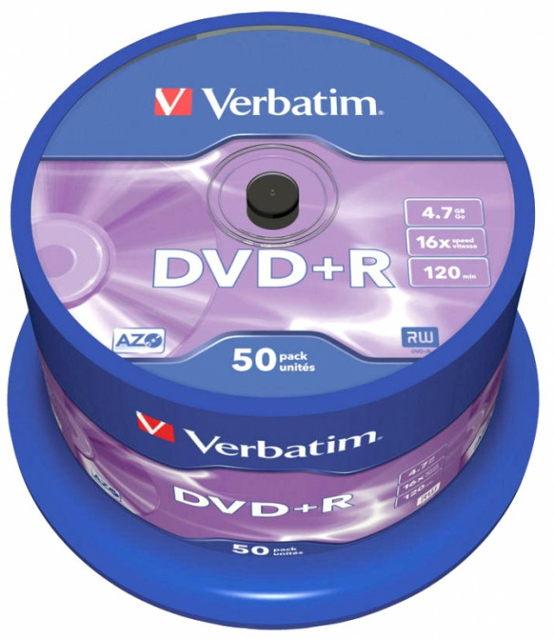 DVD+R Verbatim SL 16X 4.7GB 50PK SPINDLE MATT SILVER  [0]