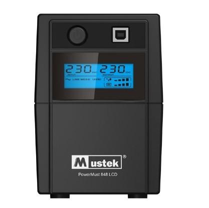 UPS  MUSTEK PowerMust  848 LCD (850VA) Line Interactive, Schuko  0