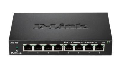 Switch unmanaged  8 port-uri 10/100M, carcasa metalica, D-LINK  0