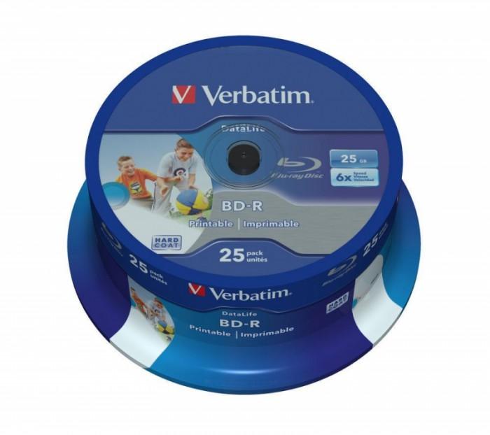 BD-R Verbatim SL DATALIFE 6X 25GB 25PK SPINDLE WIDE PRINTABLE NO ID  0