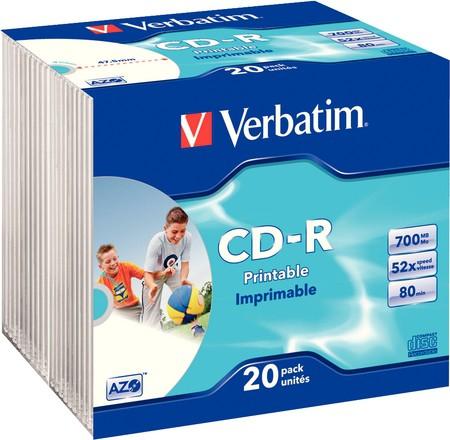 CD-R Verbatim AZO 52X 700MB 20PK SC WIDE INKJET PRINTABLE ID BRANDED  0