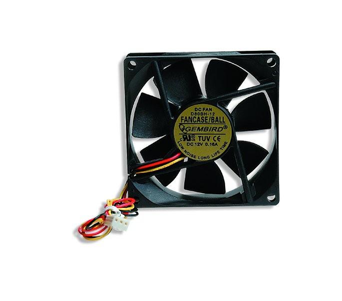 Ventilator carcasa Gembird , universal de 80mm, conector 3-pin, Negru 0