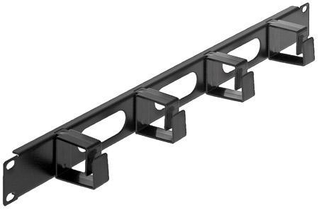 """Panou gestionare cabluri, 1U pentru rack 19"""", 4 inele de plastic pentru prinderea cablurilor, Black  0"""