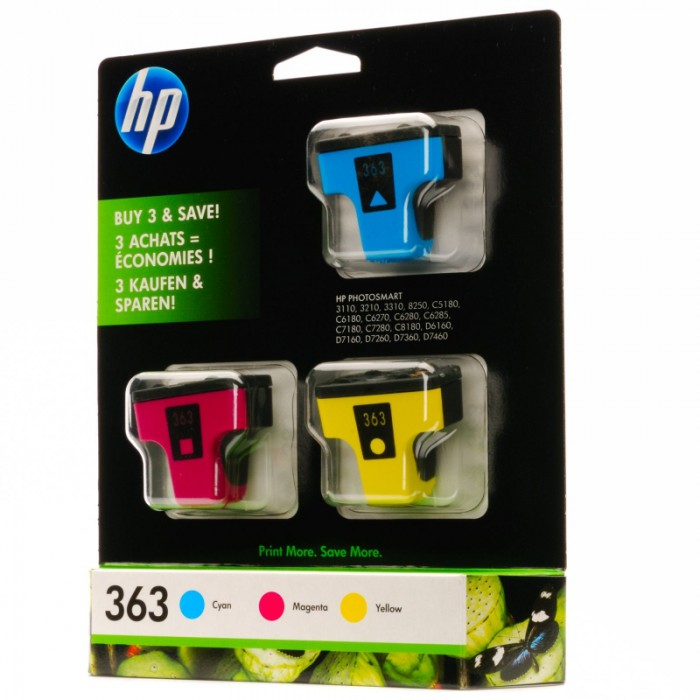 Cartus cerneala Original HP Tri-color 363 3-pack w.Vivera ink, compatibil PhotoSmart C5180/6180/6250/6280/7180/D6160/7160/7360  [0]