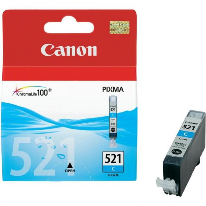 Cartus cerneala Original Canon CLI-521C Cyan, compatibil iP3600/iP4600/MP540/MP620  0