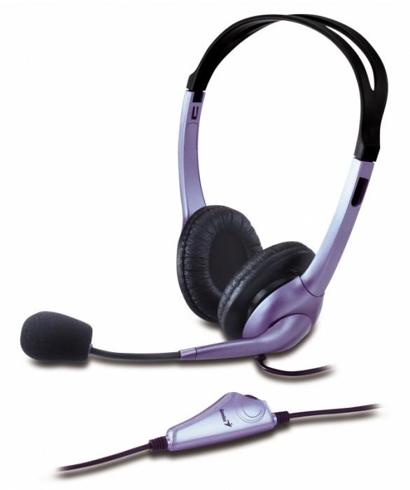 Casti stereo cu microfon GENIUS HS-04S , clasice cu fir, frecventa 20Hz - 20kHz, cu jack de 3.5mm, control volum pe fir, noise cancelling si design ajustabil, culoare: negru-gri 0