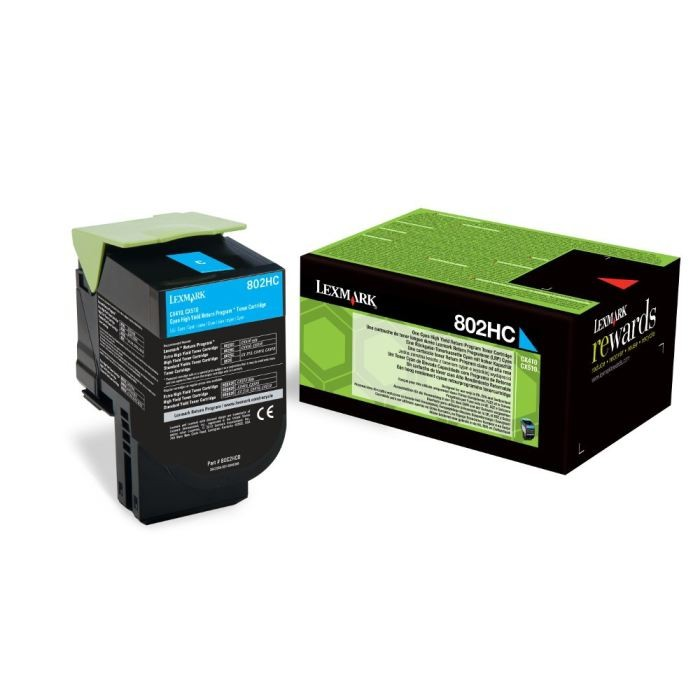 Toner Original pentru Lexmark Cyan 802HC, compatibil CX310/410/510, 3000pag  0