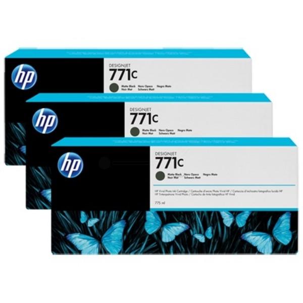 Cartus cerneala Original HP Black Matte 771C 3-pack, compatibil DesignJet Z6200, 775ml  0