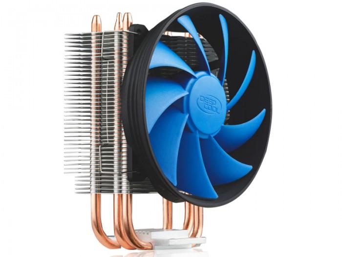 COOLER DEEPCOOL CPU, universal, soc LGA115x/775 & FMx/AMx/9xx/754 , Al+Cu, 2x heatpipe, 100W  0