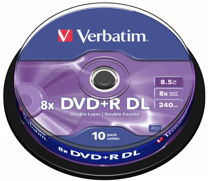 DVD+R Verbatim DL 8X 8.5GB 10PK SPINDLE MATT SILVER  0