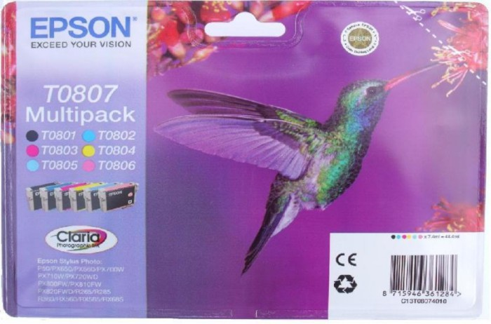 Cartus cerneala Original Epson Color T0807 Color Multipack, compatibil Stylus Photo R265/360,RX560  [0]