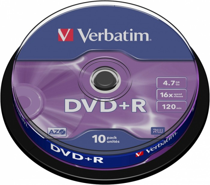 BLANK  DVD+R Verbatim  SL 16X 4.7GB  10PK SPINDLE MATT SILVER  0